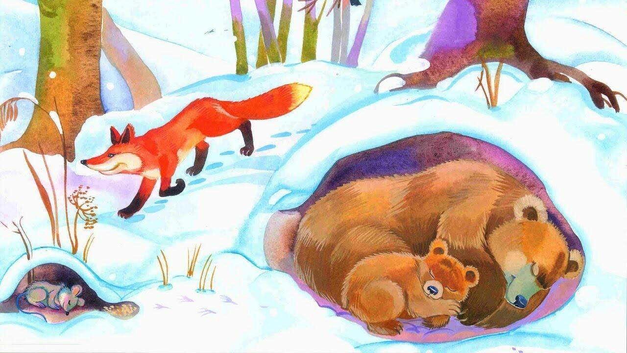 Рисунок животные зимой
