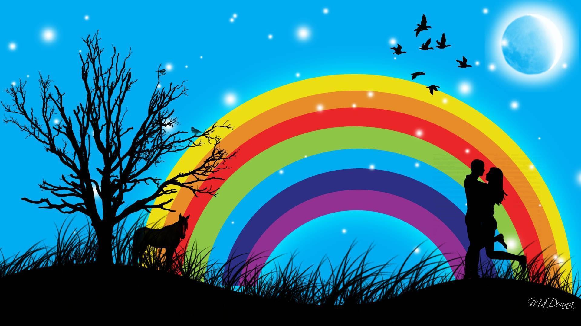 вывод одной картинки двое на радуге погода
