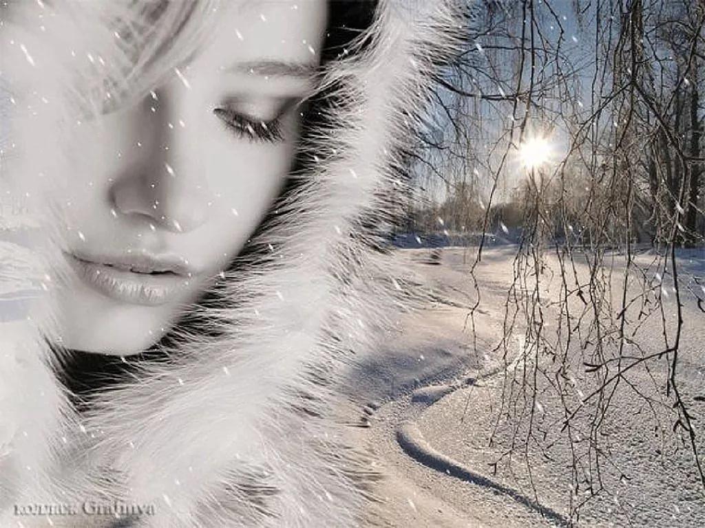 Картинки анимация девушка идет по заснеженной дороге