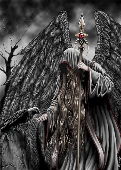 Ангел смерти — очень часто выступает в образе старухи в чёрном, строгой холодной дамы под вуалью, монахини, женщины в маске или без лица; серого или чёрного ангела-младенца, печального юноши в чёрном плаще — означает предупреждение о смерти, опасность, несчастье, период сильных душевных страданий; злой рок; тайные знания, которые погубят душу.
