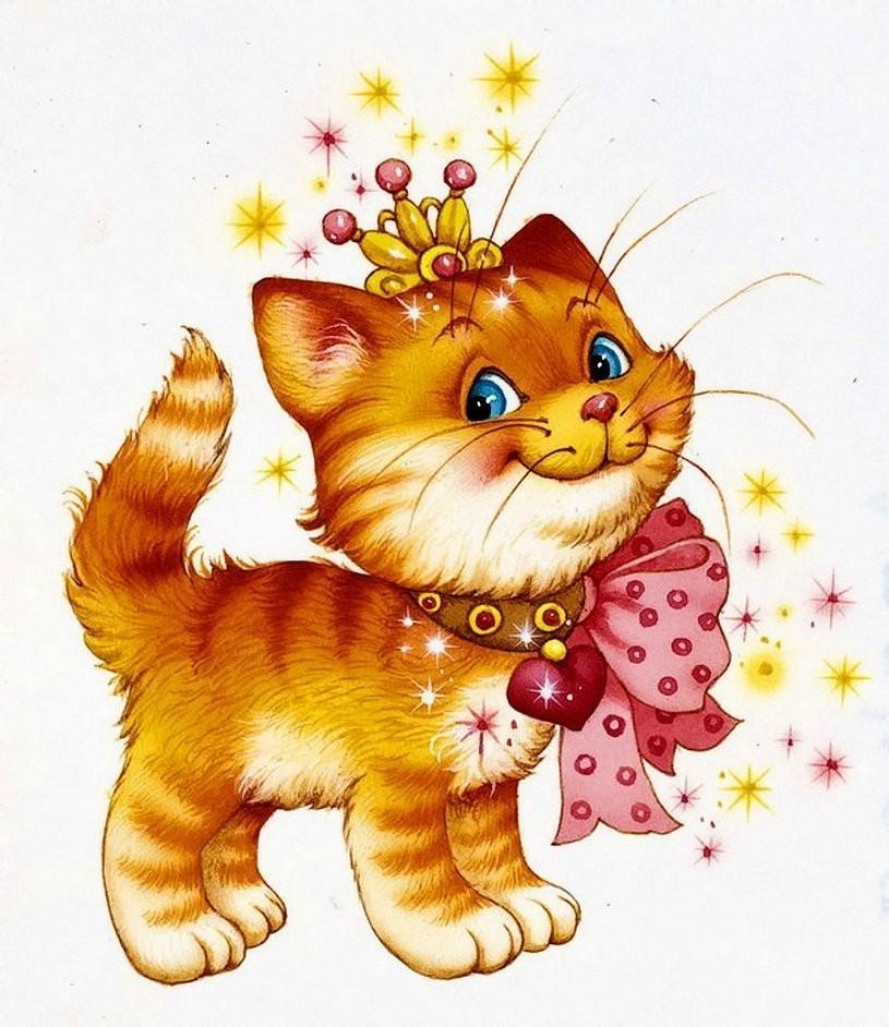 Картинки кошка для детей цветные