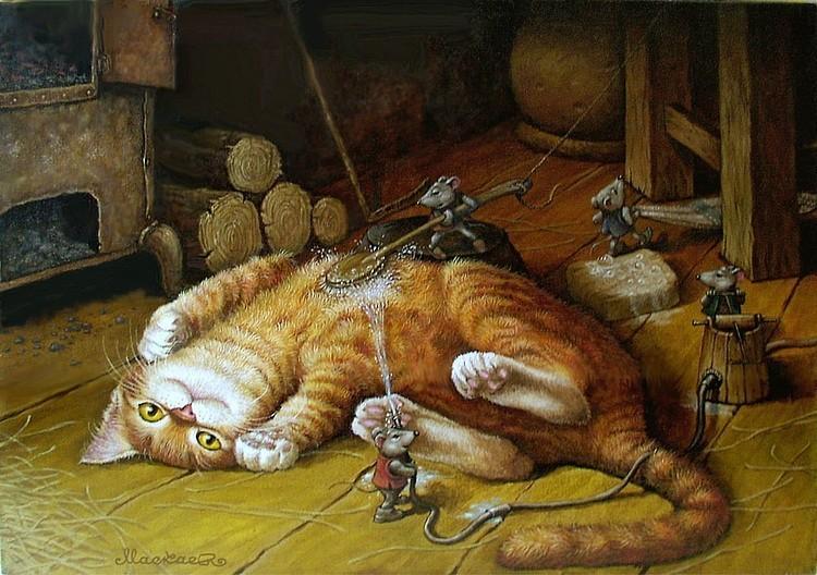Открытка мышка и кошка