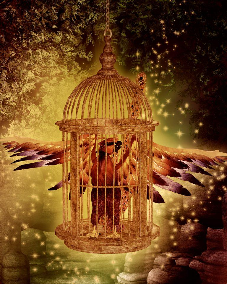 Картинка жар птицы в клетке