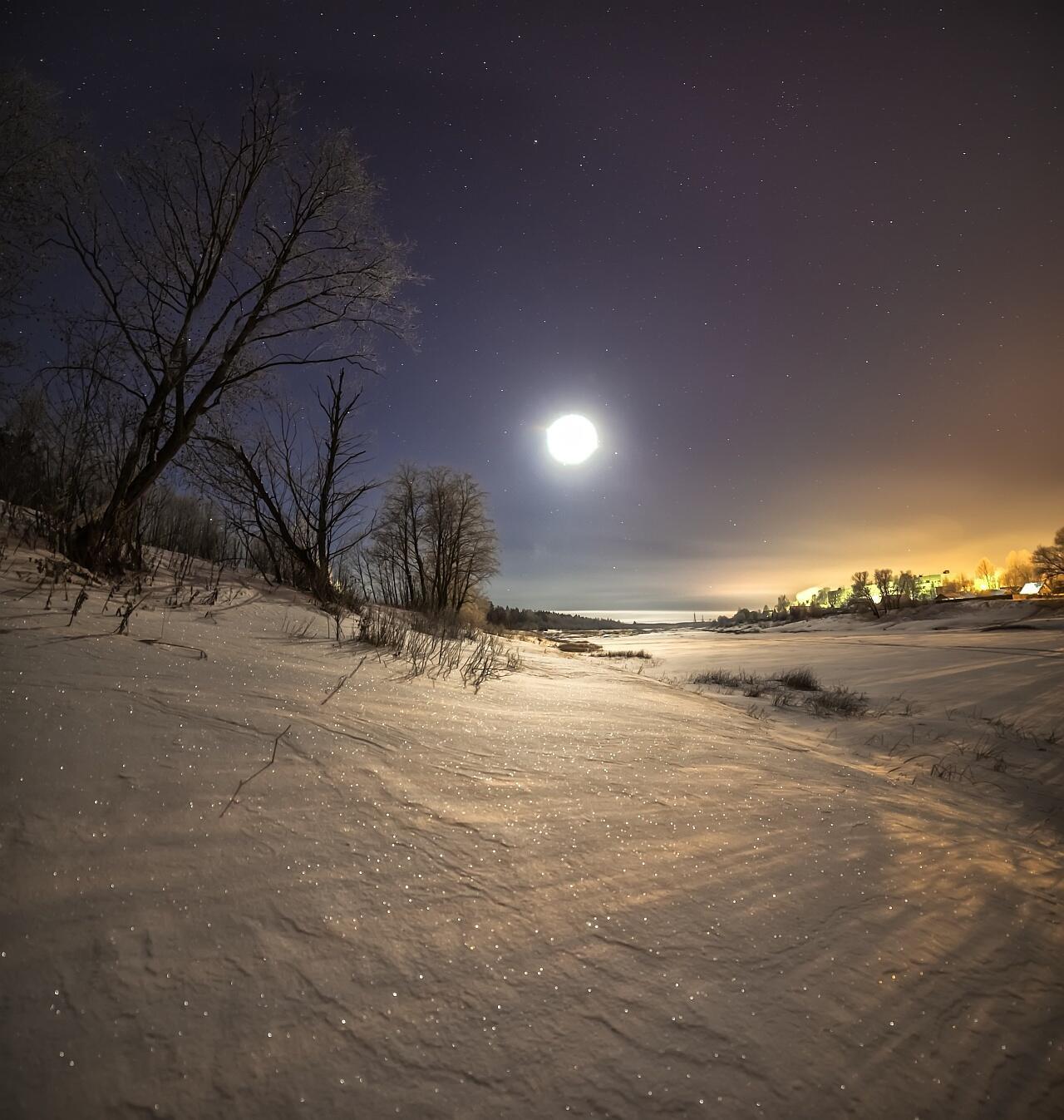 Луна и снег картинки