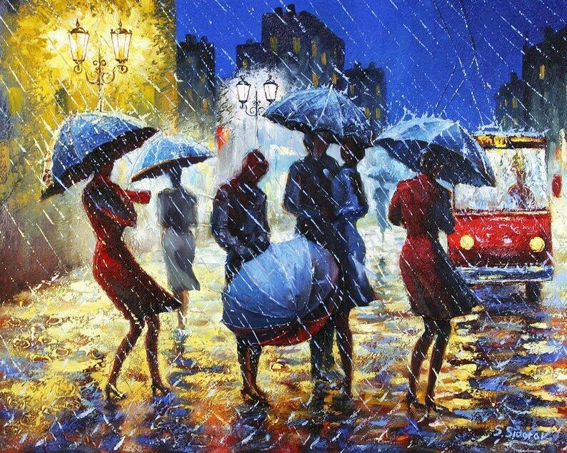 постер танцующие под дождем этом