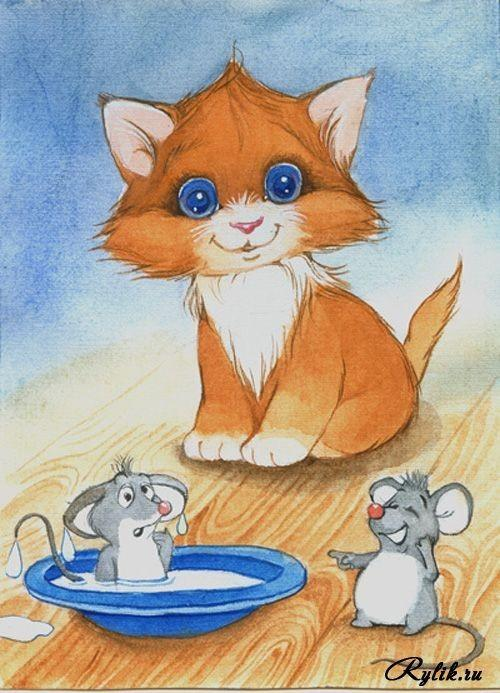 Картинки кошки мышки для детей, романтическая пара