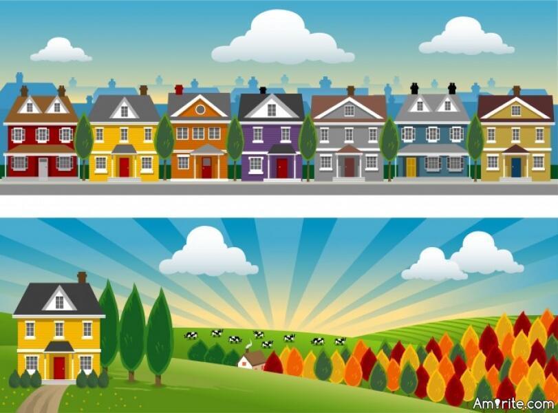 Рисунок город и село картинки