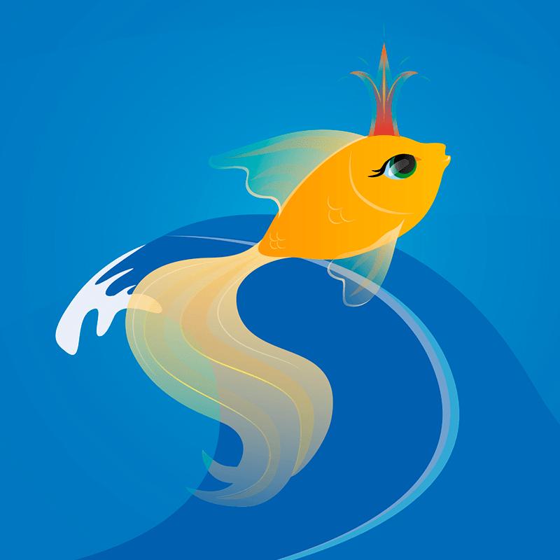 Елки новый, рисунок золотой рыбки