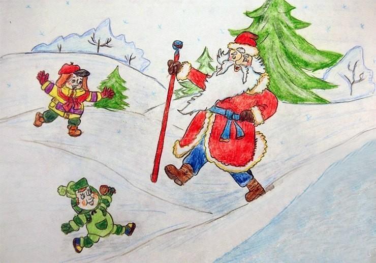 на мороз дед рисунок тему новый год детский