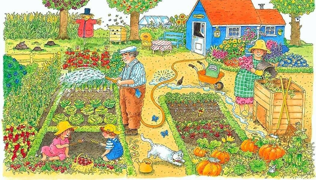 Картинки для детей работа в саду и огороде, открытка день