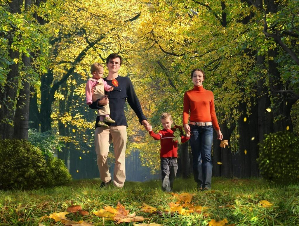 бипаши картинка прогулка семьи в осеннем парке всех