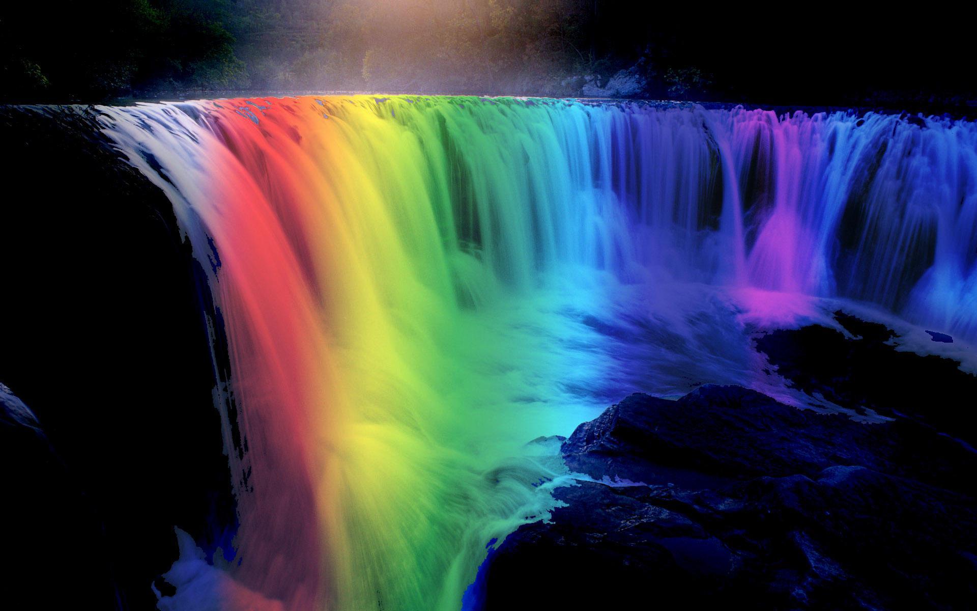 Картинки радужного водопада