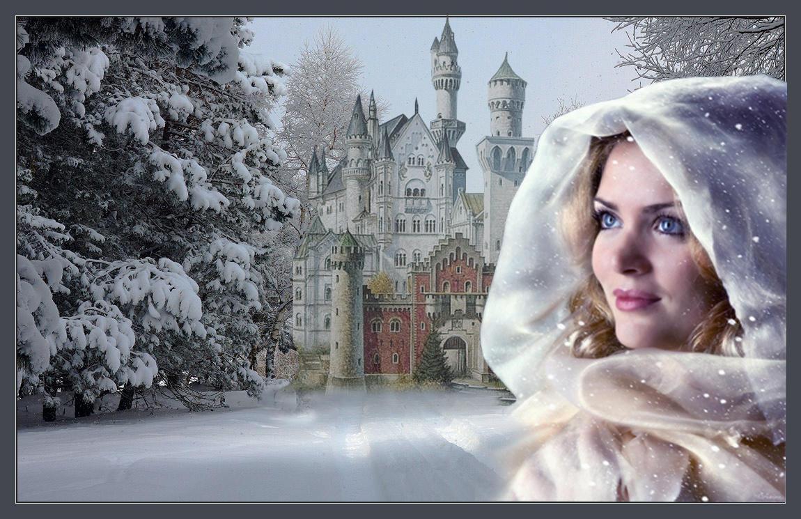 Анимационные картинки женщина зима