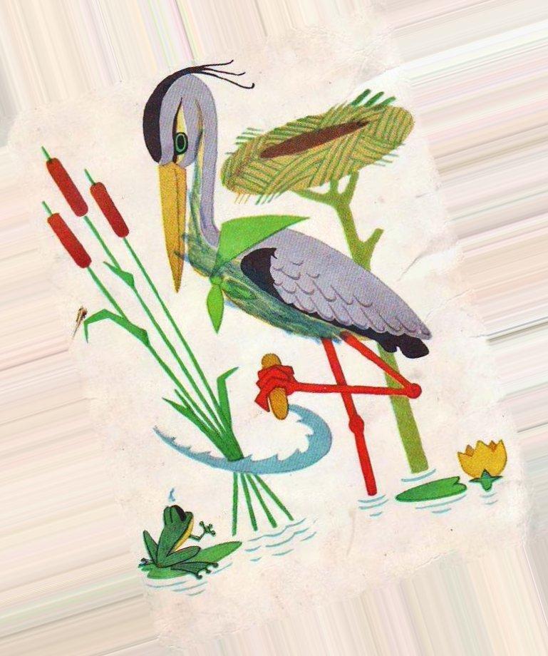 Картинка аист и лягушки