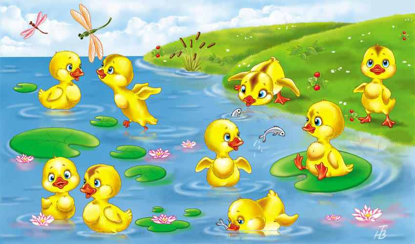 Картинки утят для детей нарисованные