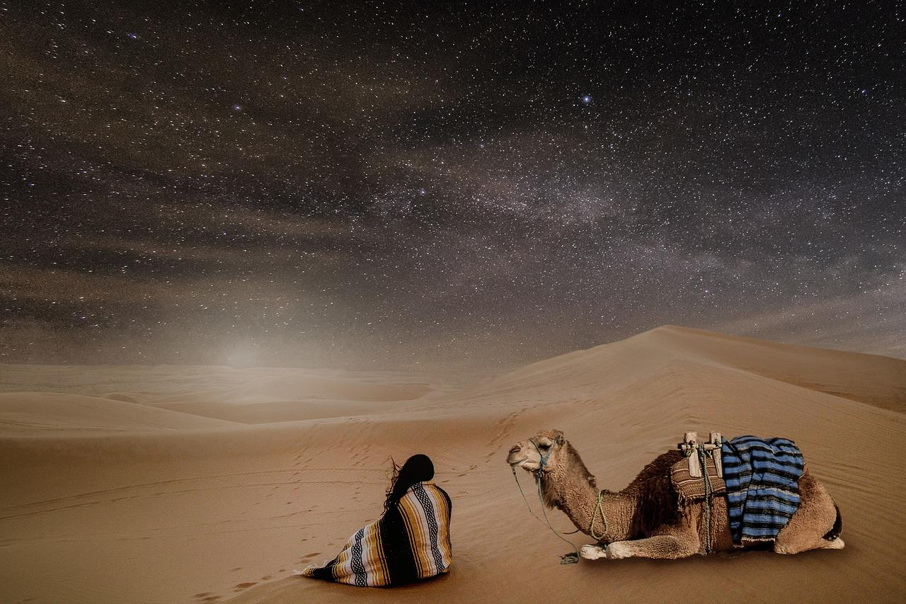 Заливает пустыню луна...