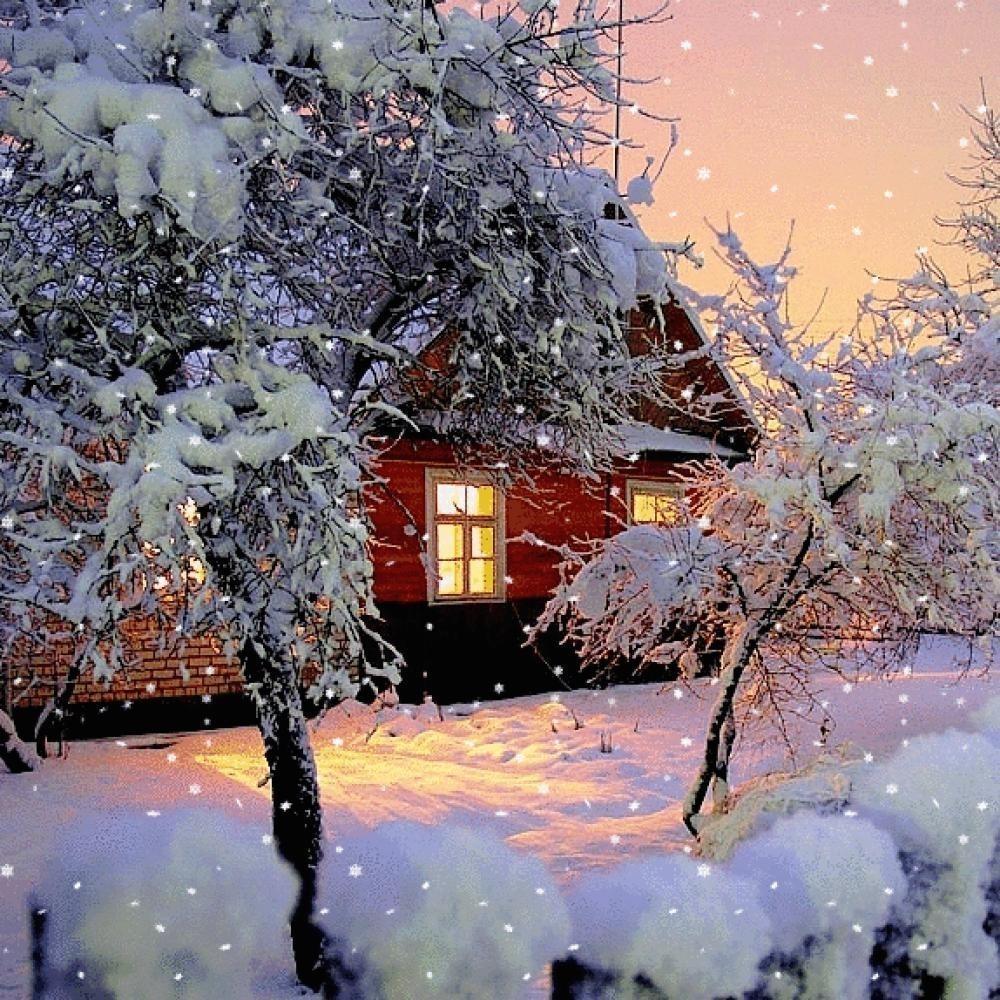 Картинки с анимацией с падающим снегом, варваре
