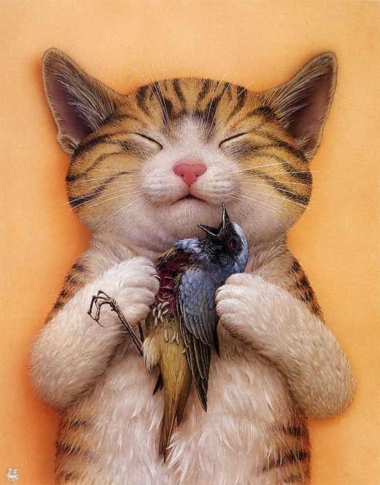 Кот с птичкой