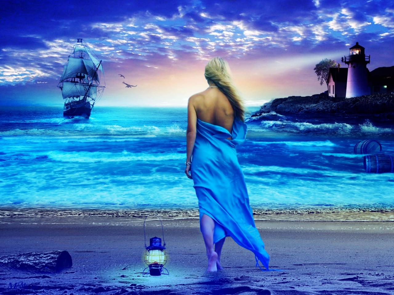 Открытка а на том берегу моря, открытку