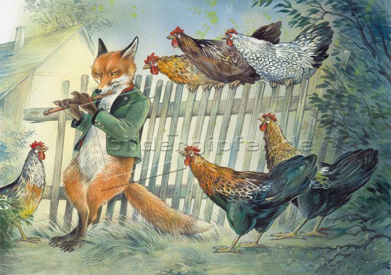 открытка лиса в курятнике картины любые заказ