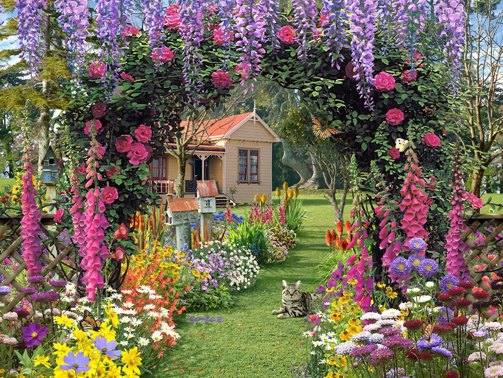 можно написать фото дом цветы сад голубоглазой кошечки