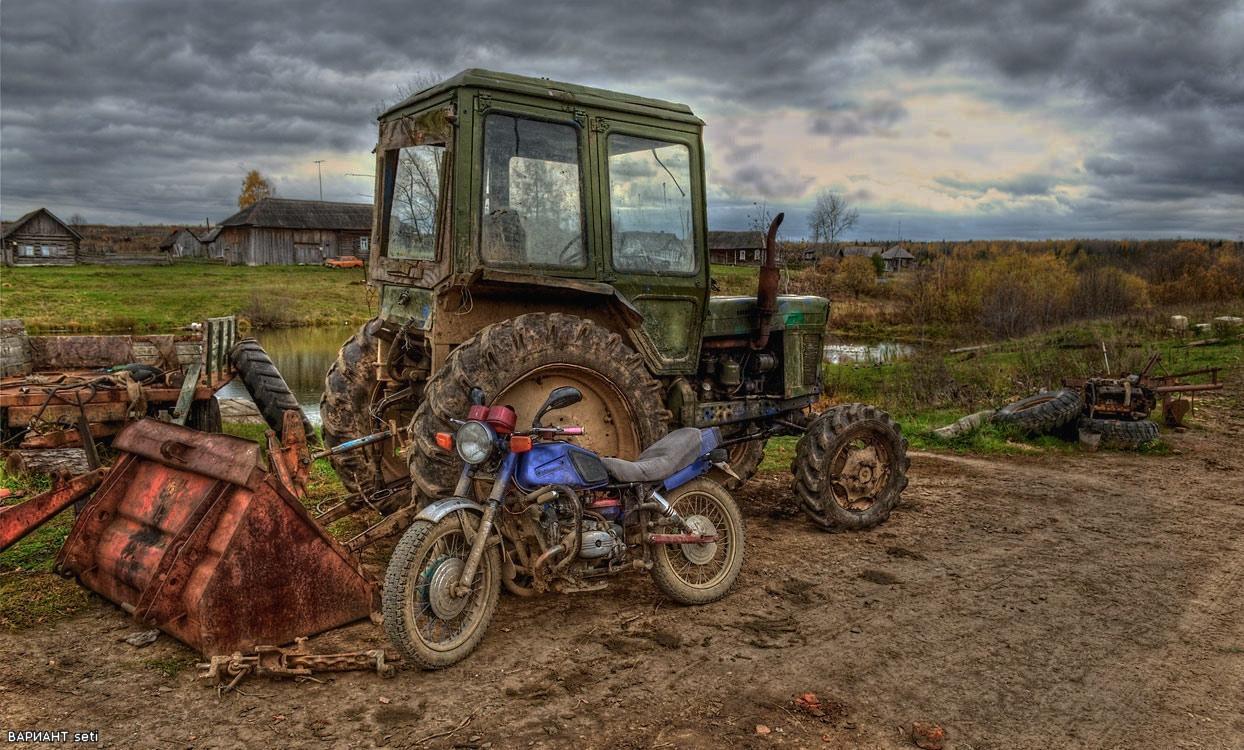 Картинки на рабочий стол трактора в деревне