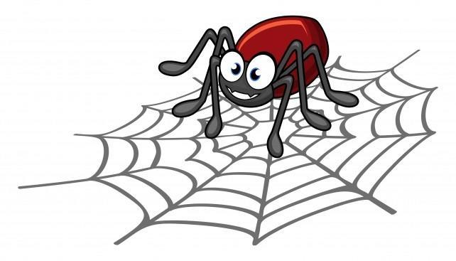 Паучок на паутинке нарисованный