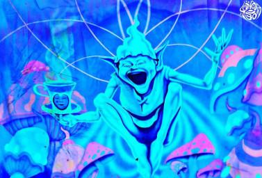 Клоун в синем трико